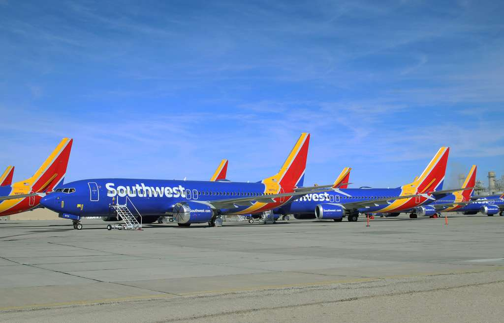 Southwest Airliners Boeing 737 Max airliners