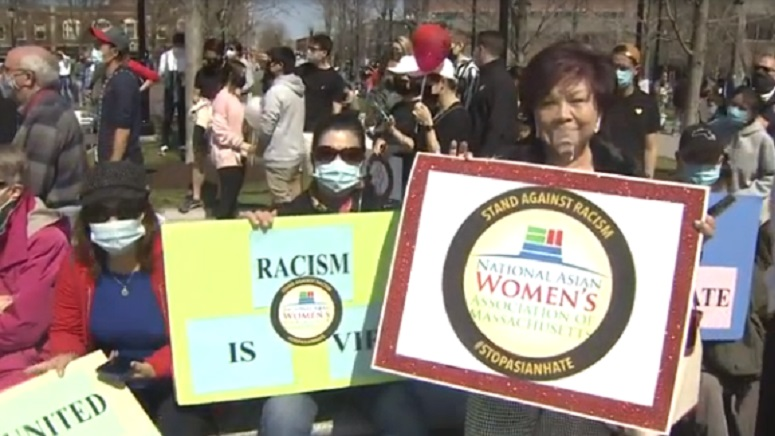 whdh.com: Demonstrators in Boston, Quincy decry racism against Asian-Americans
