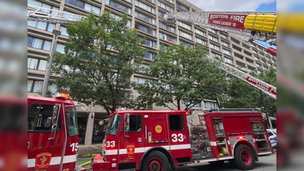 Boston firefighters battling fire on seventh floor of 12-story high-rise