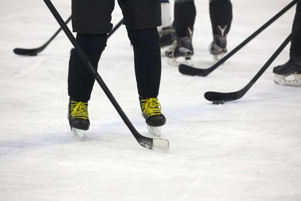 people holding hockey sticks